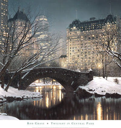 Twilight in Central Park Rod Chase Art Print