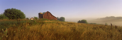 Barn in a Field, Iowa County, Wisconsin, USA Stretched Canvas Print