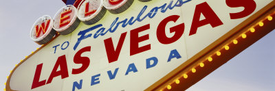 Close-up of a Welcome Sign, Las Vegas, Nevada, USA Stretched Canvas Print