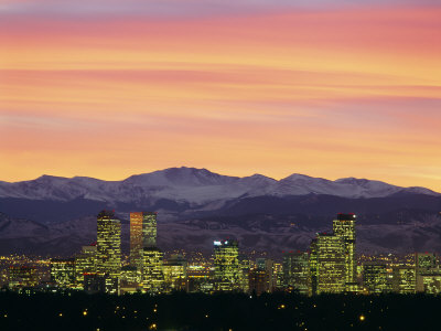Skyline and Mountains at Dusk, Denver, Colorado, USA Stretched Canvas Print