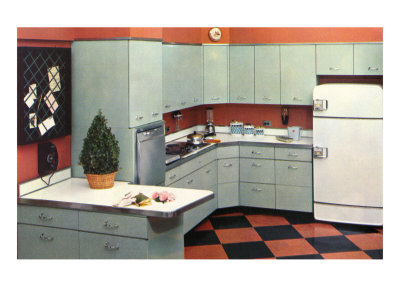 Black Kitchen With Orange Tiles
