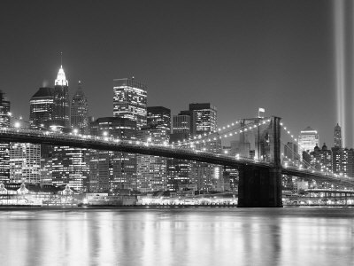 NY - Towers and Spot Lights Stretched Canvas Print