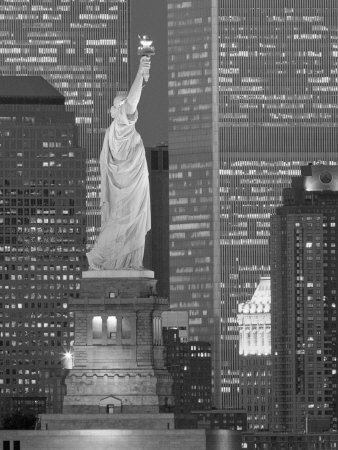 NY - Towers and Statue Stretched Canvas Print