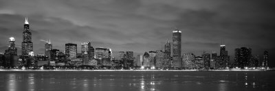 Chicago - B&W Reflection Stretched Canvas Print