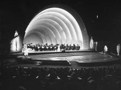 Singer Margaret Truman Standing on Stage at the Hollywood Bowl with a Large Band Behind Her Stretched Canvas Print