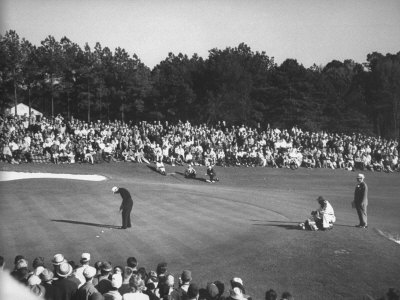 Spectators Watching as Gary Player Wins the Master's Golf Tournament Stretched Canvas Print