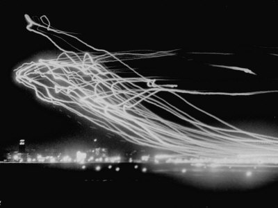 The Pattern Made by Landing Lights of Planes in 20 Minute Time Exposure at La Guardia Airport Stretched Canvas Print
