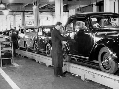 Cars on the Assembly Line at the Fiat Plant Stretched Canvas Print