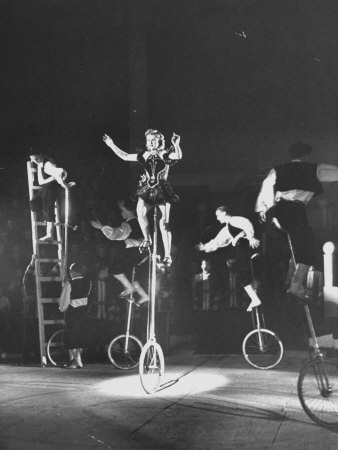 Unicyclists Performering at the Circus Stretched Canvas Print