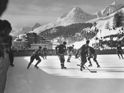 US Hockey Team Playing the Swiss at the Winter Olympics Stretched Canvas Print