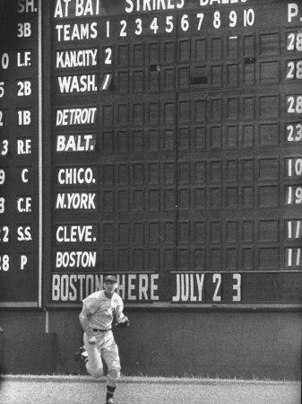 Scoreboard at Griffith Stadium During Game Stretched Canvas Print