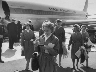 Pan Am Stewardesses in Frankfurt after Emergency Landing Stretched Canvas Print