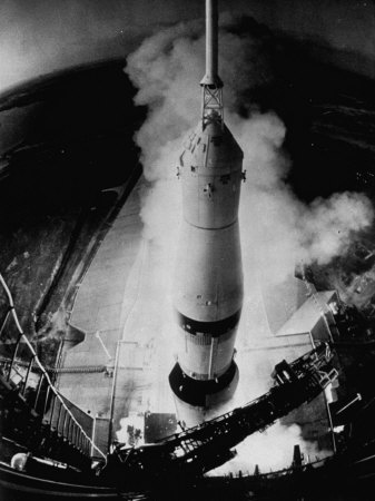 Launch of Saturn 5 Rocket at Cape Kennedy Stretched Canvas Print