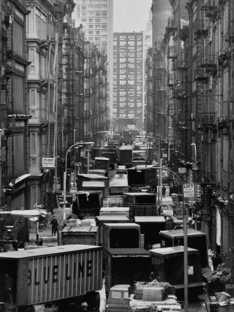 Congested Street in Soho Where More Than a Thousand Artists Live and Work in Huge Lofts Stretched Canvas Print