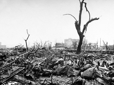 Hiroshima in Ruins Following the Atomic Bomb, Dropped at End of WWII Stretched Canvas Print