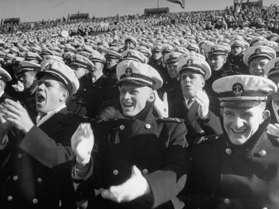 Fans Cheering at the Army-Navy Football Game Stretched Canvas Print