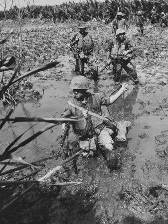 Marines Searching for Viet Cong in the Delta Stretched Canvas Print