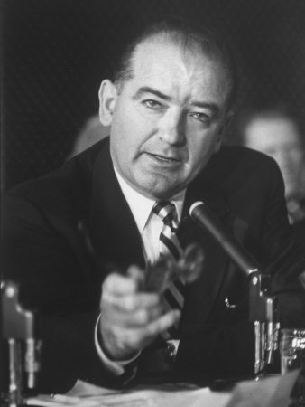 Sen. Joe McCarthy During Army-McCarthy Hearings Stretched Canvas Print