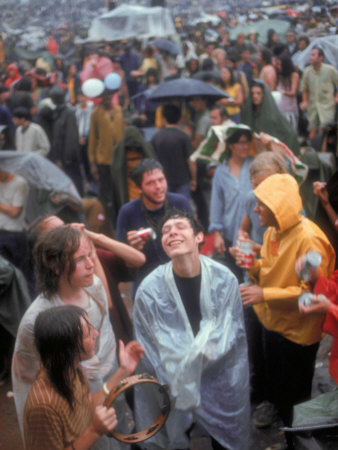 Faces in Crowd During Rainy Spell at Woodstock Music and Art Festival Stretched Canvas Print