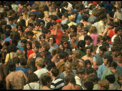 Overall of the Huge Crowd, During the Woodstock Music and Art Fair Stretched Canvas Print