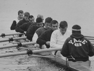 Yale Crew Rowing During Training Stretched Canvas Print