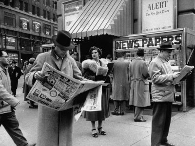 People Buying Out of Town Newspapers in Times Square During Newspaer Strike Stretched Canvas Print
