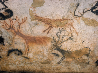 20,000 Year Old Lascaux Cave Painting Done by Cro-Magnon Man in the Dordogne Region, France Stretched Canvas Print