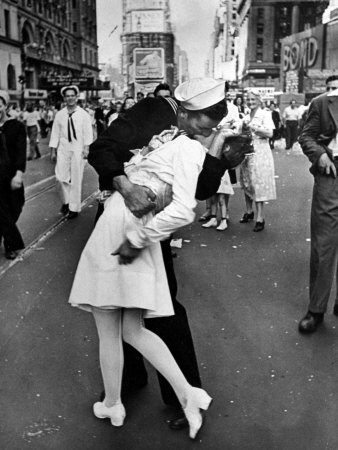 V-J Day in Times Square Stretched Canvas Print