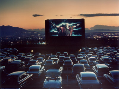 "Actor Charlton Heston as Moses in ""The Ten Commandments,"" Shown at Drive-in Theater Stretched Canvas Print"