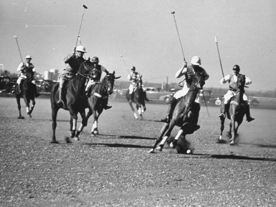 Men Playing Polo Stretched Canvas Print