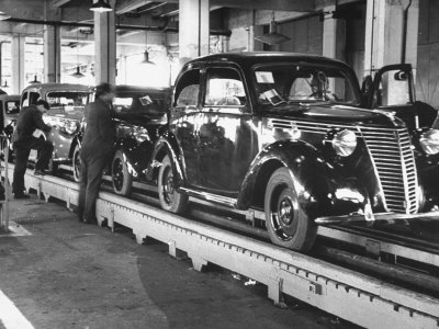 New Fiat Cars Sitting on the Assembly Line at the Fiat Auto Factory Stretched Canvas Print