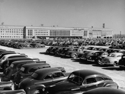 Full Parking Lot at the War Department Stretched Canvas Print