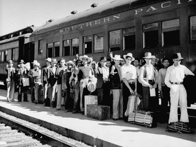 Mexican Farm Workers Boarding Train to Be Taken to Work on Us Farms Stretched Canvas Print
