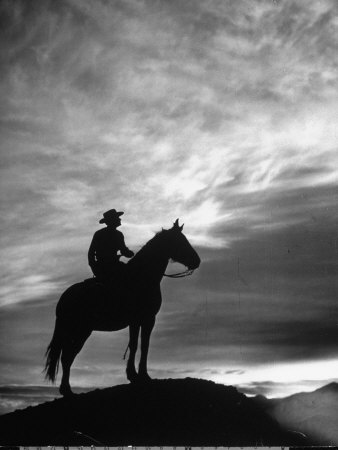 Silhouettes of Cowboy Mounted on Horse Stretched Canvas Print