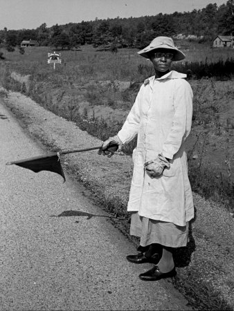 An African-American Woman Waving a Flag to Control Traffic for a Nearby Wpa Road Project Stretched Canvas Print