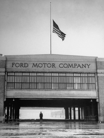 With Flag at Half Staff, the Ford Plant Is Deserted for Henry Ford's Funeral Stretched Canvas Print