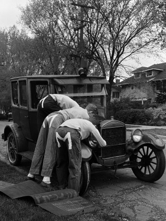 Teenaged Boys Working on a 1927 Ford Model T Stretched Canvas Print