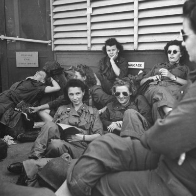 Group of Us Army Nurses Relaxing During Stopover on Guam En Route to their Final Destinations Stretched Canvas Print