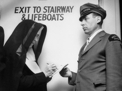 Western Union Messenger Delivering a Telegram to a Nun on Board Ship Who Is Signing for It Stretched Canvas Print