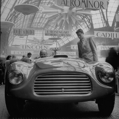 Front View of New Model Ferrari Being Shown During Automobile Exhibit Stretched Canvas Print