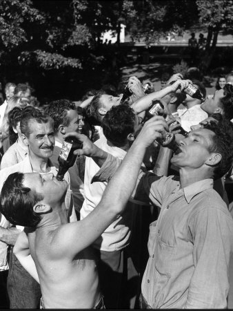 Men Having a Beer Drinking Contest at the Company Picnic Stretched Canvas Print