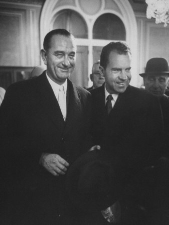 Sen. Lyndon B. Johnson Posing with Vice-President Richard M. Nixon Stretched Canvas Print