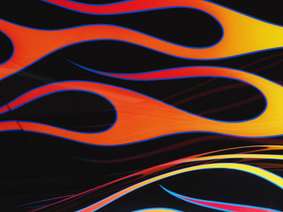 Orange and Yellow Flames Painted on a Black Car Stretched Canvas Print