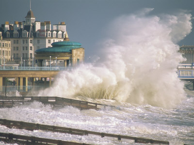 Waves Pounding Bandstand, Storm in Eastbourne, East Sussex, England, United Kingdom, Europe Stretched Canvas Print