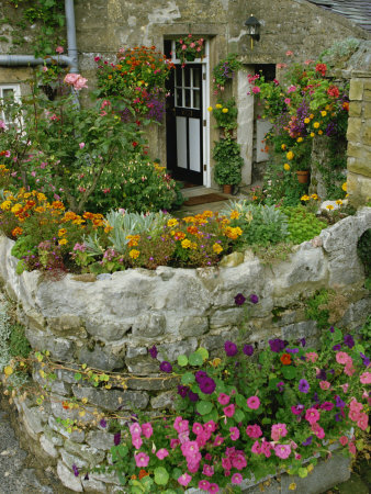 Detail of Cottage and Garden, Yorkshire, England, United Kingdom, Europe Stretched Canvas Print