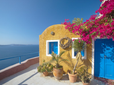 Colourful House in Santorini, Cyclades, Greek Islands, Greece, Europe Stretched Canvas Print