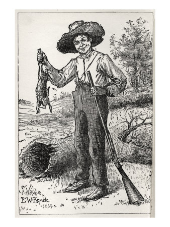 Huck Finn holding gun and hare, hunting Stretched Canvas Print