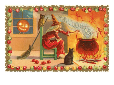Witch with Halloween in Steam Stretched Canvas Print