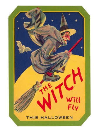 Halloween, The Witch will Fly Stretched Canvas Print