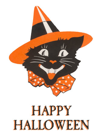 Happy Halloween, Black Cat in Hat Stretched Canvas Print